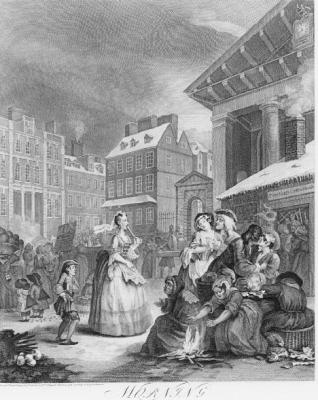 Hogarth painting of a woman walking down the street
