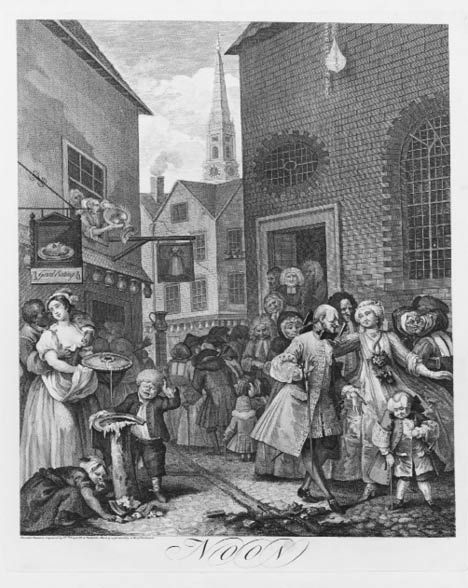 Hogarth painting of a busy street