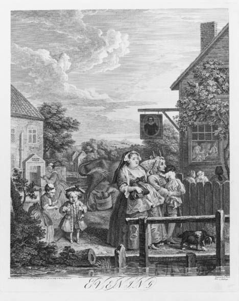 Hogarth painting of people walking down a lane