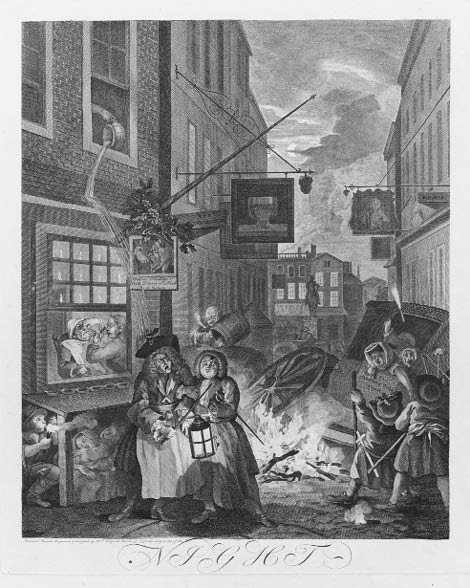 Hogarth painting of people walking down a street