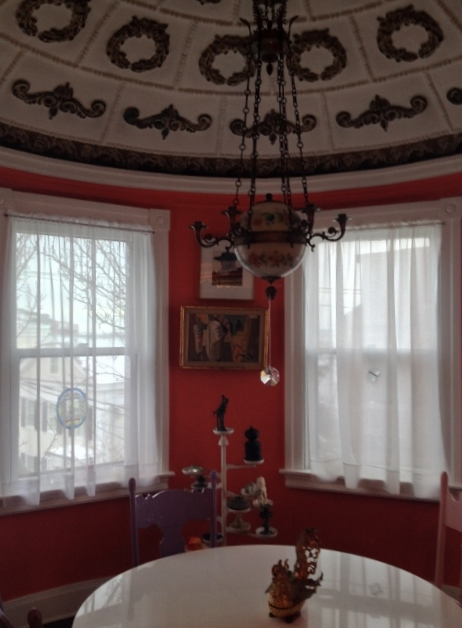 room with red walls