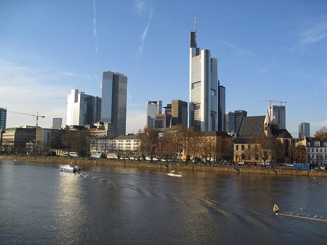 Frankfurt city skyline along the River Main