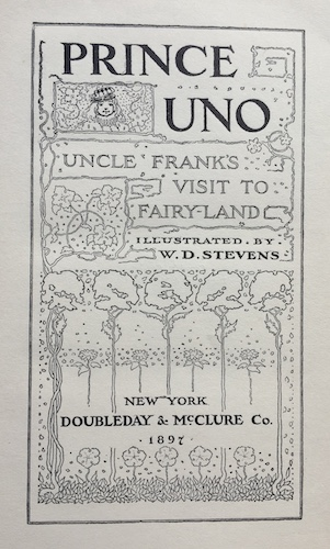 "Title page of ""Prince Uno: Uncle Frank's Visit to Fairyland"""