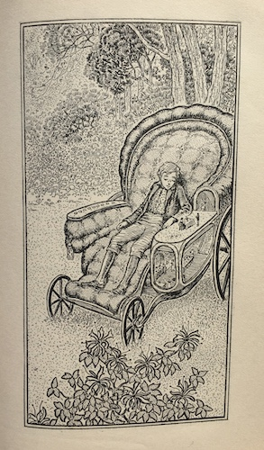 "Illustration of a young boy in a wheelchair, taken from ""Prince Uno"""