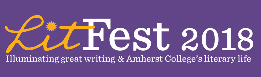 """LitFest 2018"" in white font on a purple background"