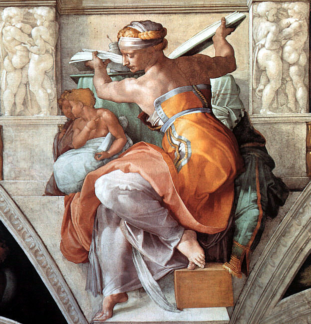 Taken from the ceiling of the Sistine Chapel. Woman wearing a sleeveless orange robe sits with her back to the viewer, half-turned as she picks up a ledger from behind her and brings it back around to face front