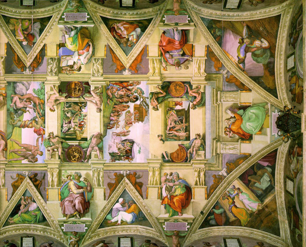 A snippet of the ceiling of the Sistine Chapel