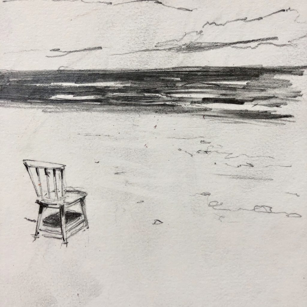 A wooden chair, washed up on the beach between Nauset and Wellfleet. All drawings by the author.