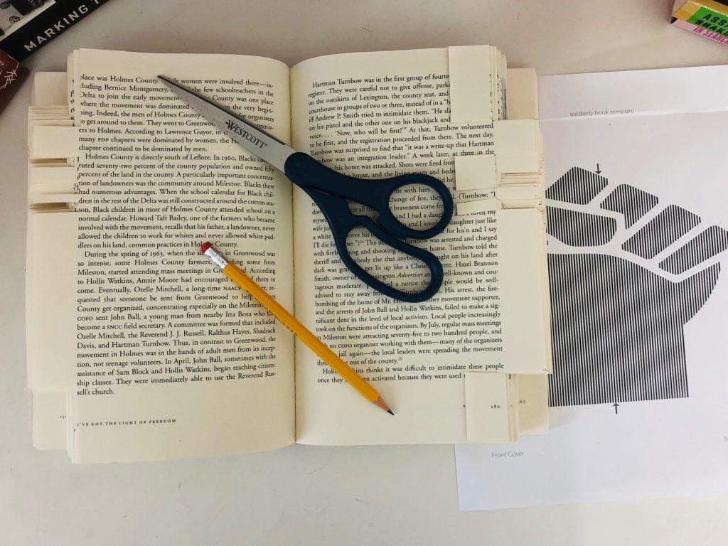 Scissors on book
